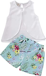 BOIZONTY Kids Baby Girls Outfits Floral Ruffle Off Shoulder Crop Tops + Bowknot Denim Shorts Skirt Set Toddler Summer Clothes - White - 18-24 Months