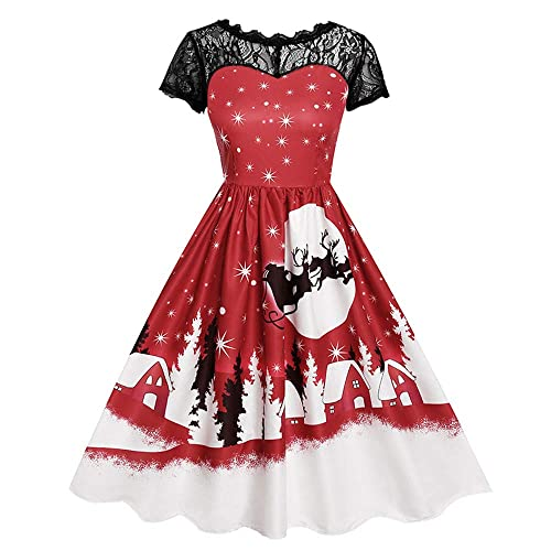 fde6c02d726a VECDY Women's Dresses, Women Gifts Short Sleeve Halloween Retro Lace  Vintage Dress A Line Pumpkin