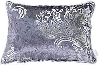 HYSENM Rectangle 12x20 Luxury Velvet Silver Patterns Pillow Case Sham Cover Throw Cushion Cover Office Home Hotel Décor, Grey 12