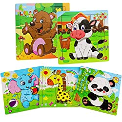 wood city animal puzzle with 9 pieces