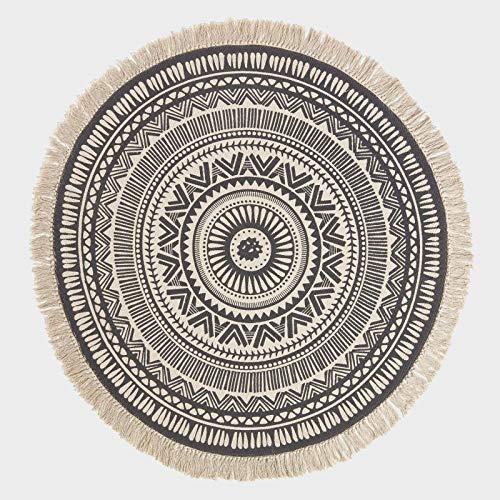 Homescapes runder Teppich, schwarz-weiß Gemustert, 145 cm großer Mandala-Teppich mit Fransen aus 100% Baumwolle, stylischer Boho-Teppich fürs Wohnzimmer oder Schlafzimmer mit geometrischem Muster