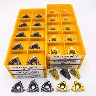 ツール外部ツール旋盤CNC超硬ネジインサートスレッド切削工具を回すMMT 22ER 22IR AG60 VP15TF UE6020 US735スレッド (Color : MMT 22IR AG60 UE6020, Size : 10PCS)
