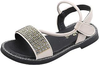 Sandali da Ragazza Estivi Comodi Strass Morbidi Perle Sandali Principessa Piatti Antiscivolo Sandali da Passeggio allaperto Scarpe da Spiaggia