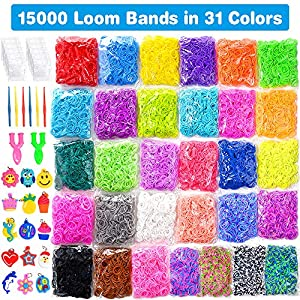 15000 Loom Bands In 31 Colors Rubber Loom Band Refill Kit for Boy Girl Weaving DIY Craft Gift Set Include: + 500 Cute…