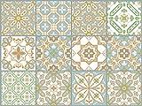 The Nisha 24 PC pegatinas para pared Adhesivo de Pared Salpicadero de Vinilos Azulejos Adhesivos Arte Ecléctico para la Cocina & Baño, 10x10 cm, Fution oriental