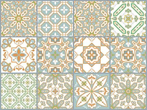 The Nisha 24 PC Peel and Stick Wall Tile Stickers Wandtattoo Wandkleber Backsplash Vinyl Fliesenkleber Abziehbilder Kunst Küche & Badkamer Ecletic, 10x10 cm, Eastern Fution