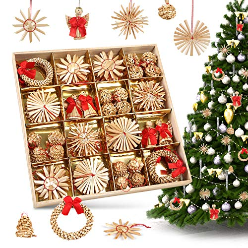 LIHAO 56 x Strohsterne Christbaumschmuck Weihnachtsbaum Stroh Weihnachten Strohanhänger Christbaum Deko Anhänger für Weihnachten Advent Sterne Herzen Engel Set Behang