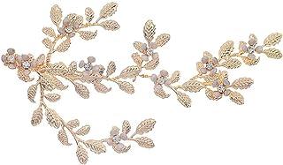 PIXNOR Bridal Wedding Hair Pins Bride Hair Slides Hair Barrettes Crystal Leaf Hair Clip Pearl Wedding Hair Grips Brida Hai...