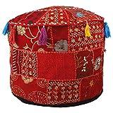 Aakriti Gallery - Funda redonda para puf con bordado indio étnico, algodón indio, para puf, reposapiés, otomana, cojín – solo funda, 56 x 35 cm