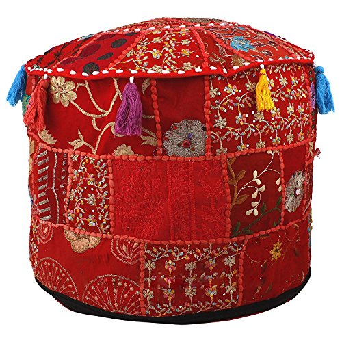 Aakriti Gallery Indian Pouf Footstool Ethnic Embroidered Pouf Cover, Indian Cotton Round Pouffe Ottoman Pouf Cover Pillow Ethnic Decor Art - Cover Only (22x14inch) (Red)