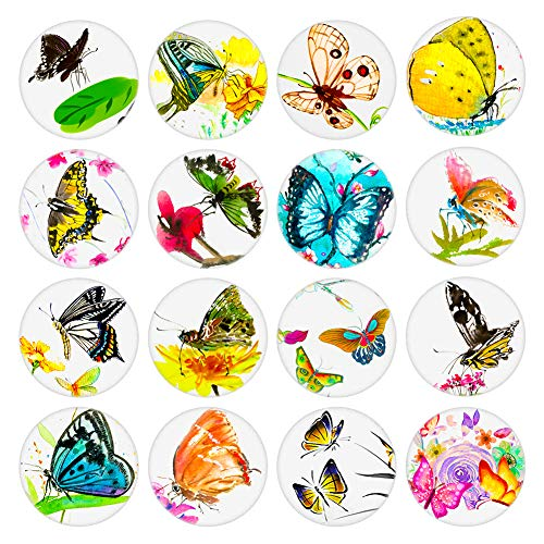 Aligle 16pcs Beautiful Glass Refrigerator Magnets Insect Fridge stickers Funny for Office Cabinets Whiteboards Decorative Photo Abstract Butterfly