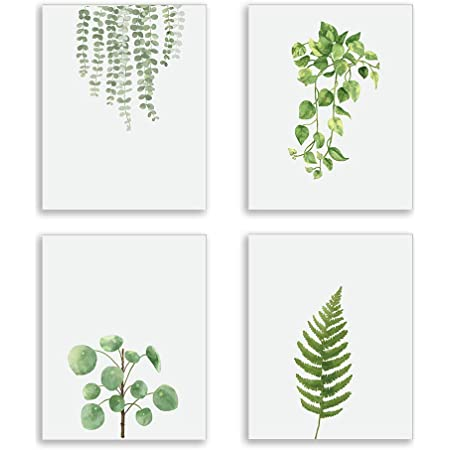 Plant Poster Living Room Wall Art Botanical Print Set Bedroom Wall Decor Leaf Print Greenery Foliage Gallery Wall Set Watercolor