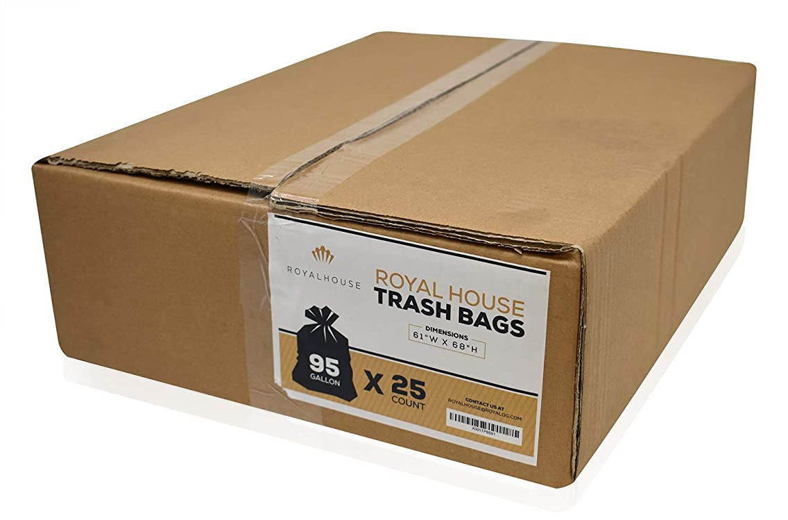 Heavy Duty Large Trash Bags, 95 Gallon for Big Garbage Can, Liner, Container, Bin, Lawn Leaves, Outside -Thick 2 Mil - Size Black, 61