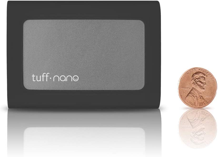 CalDigit Tuff Nano 1TB, Charcoal Black Up to 1055MB//s Compact Rugged IP67 USB-C 3.2 Gen 2 10Gb//s External NVME SSD Compatible with Thunderbolt 3 Mac and PC