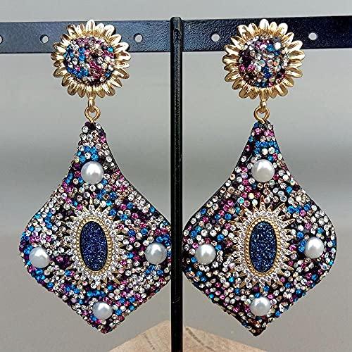 YANXIA Pendientes Vintage para Mujer Pendientes de Botón Multicolores Pendientes Grandes Pendientes Colgantes Bohemios Pendientes Simples de Decoración de Otoño para Mujer