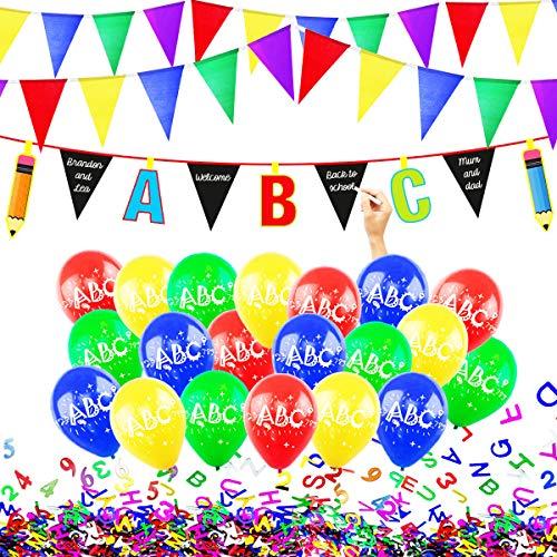 Einschulung Deko Schuleinführung Schulanfang 1.Schultag Dekoration Set, Girlande, ABC 123 Erster Schultag Konfetti, Luftballons