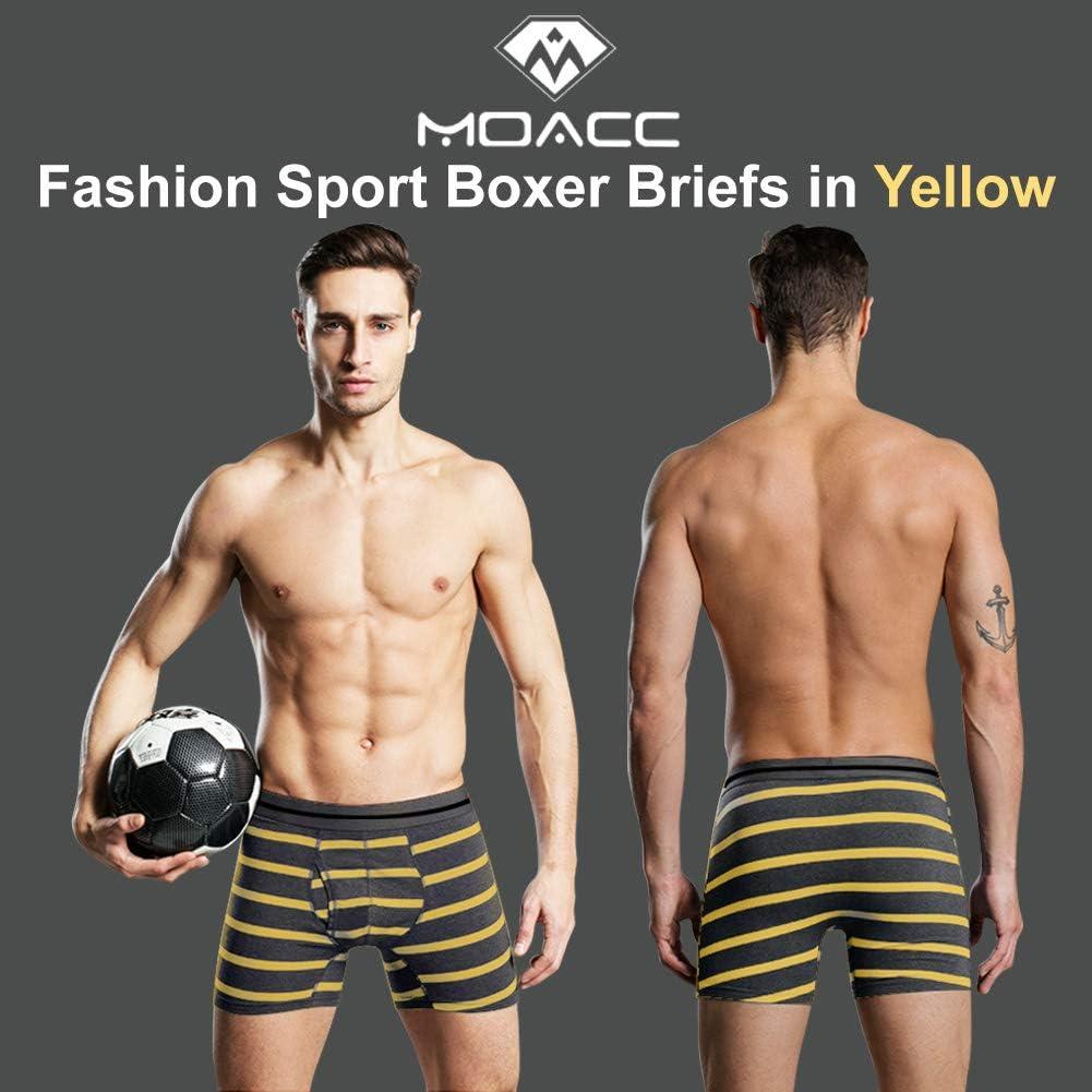 M MOACC Men's Boxer Briefs Underwear 4 Set Multi Pack Classic Stripe Low Rise Trunks with Pouch