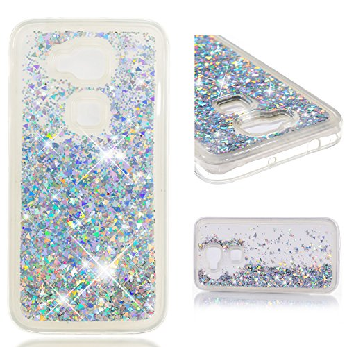 MSOSA hülle für Huawei G8/G7 Plus,hülle für Huawei G8/G7 Plus Handyhülle hülle für Huawei G8/G7 Plus, Flüssig Treibsand Glitter Quicksand Weich TPU Bumper Silikon Schutzhülle Case Cover_Silber