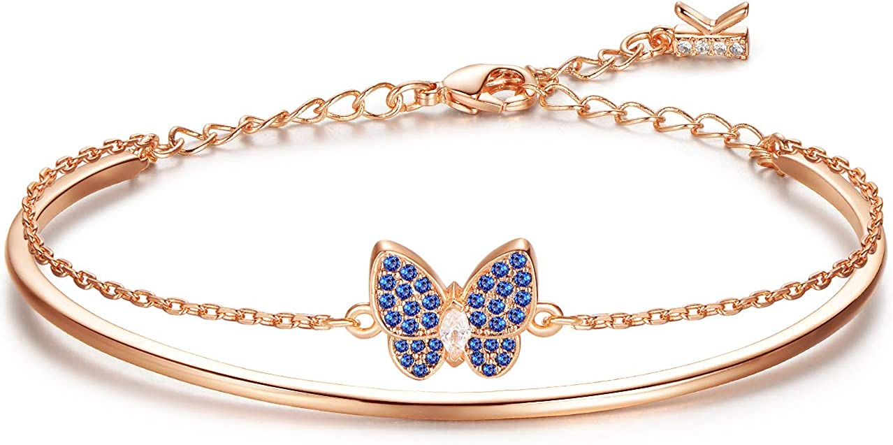 KIMILILY Butterfly Charm Birthstone Bracelets for Women,Gifts for Women Girl,Rose Gold Jewelry Crystals from Swarovski with Fine Jewelry Box