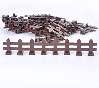 Brown Picket Fence Pieces -50pcs Building Block Scenery Accessories Compatible with Major Brands