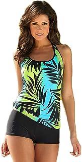 Women's Swimsuit Tankini Shorts + Sling Top Printed Beachwear Swimming Costume