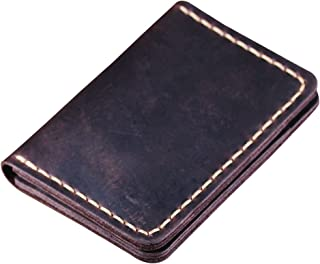 Handmade Bifold Leather Wallet - Minimalist Leather Credit Card Wallet