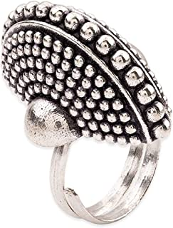 Voylla Rava Ball Silver Oxidized Statement Ring for Women