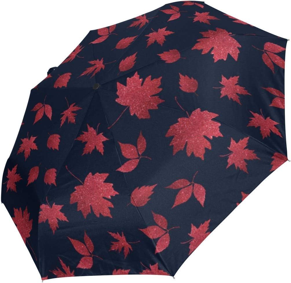 Mini Austin Mall High quality new Folding Umbrella Autumn Red Maple Blue Leaves Dark Windproo