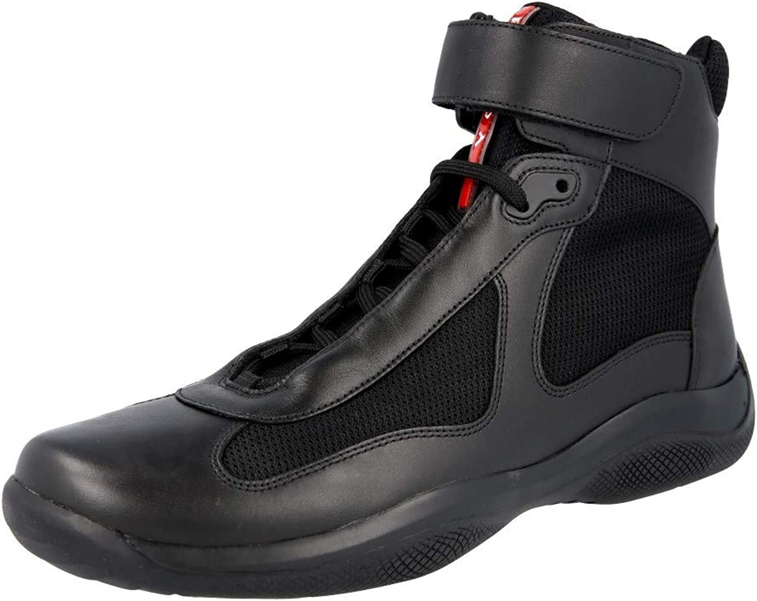 Prada Men's America's Cup High Top Sneaker, Black (black)