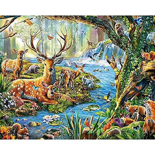 Kits de pintura de diamantes 5D para adultos, niños, ciervos y pájaros Sika, kits de arte de diamantes de animales para principiantes, pintura de diamante 5D con taladro completo de bricolaje, perfec