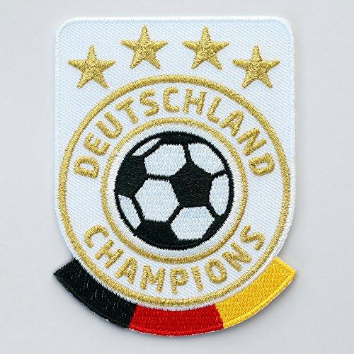 Club of Heroes 2 x Deutschland Fussball Abzeichen gestickt 86 x 65 mm/Champions Gold Stick Aufbügler Aufnäher Wappen Sticker Patch für Kleidung Trikot/Fußball National Mannschaft Team Meister Fan