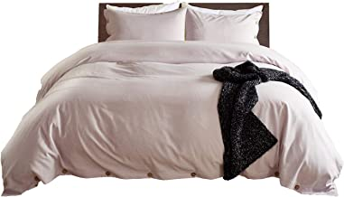 DOMIKING Solid Color Duvet Cover King 3 Piece Ultra Soft Linen Style Easy Care Bedding Set (King,Pale Purple)