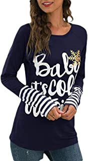 Macondoo Women Fall Winter Xmas Top Tee Letters Print Long Sleeve T-Shirts