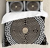 Ambesonne Greek Key Duvet Cover Set, Grecian Fret and Wave Pattern on Dark Background Antique Retro Swirls, Decorative 3 Piece Bedding Set with 2 Pillow Shams, Queen Size, Brown Coconut