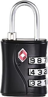 uxcell TSA Approved Luggage Lock 3 Digit Combination Travel Padlock Zinc Alloy Black 60x30x13mm