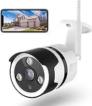 NETVUE Cámaras de Vigilancia WiFi Exterior, FHD 1080P Cámara Seguridad Compatible Alexa, Impermeable IP66, Ethernet y WiFi con Versión Nocturna Audio Bidireccional Detección de Humano Movimiento