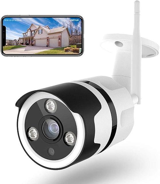 Cámaras de Vigilancia WiFi Exterior Netvue FHD 1080P Cámara Seguridad Compatible Alexa Impermeable IP66 Ethernet y WiFi con Versión Nocturna Audio Bidireccional Detección de Humano Movimiento