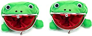 AUEAR, 2 Pack Frog Coin Wallets Purse Cute Animal Money Pouch with Lock Small Cartoon Change Bag Plush Green