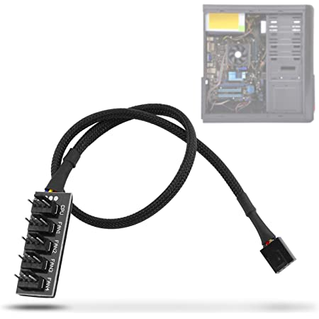 Yosoo Health Gear PWM Fan Hub Splitter, PC CPU Ventilador de enfriamiento Cable de alimentación para computadora de Escritorio Enfriadores de Caja Ventiladores 1 a 5 vías