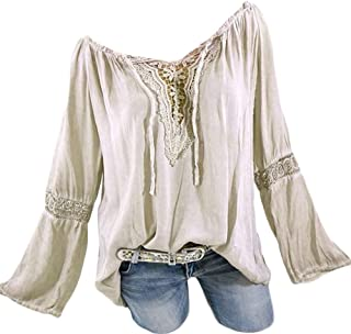dc1d5dd12a3 Plus Size Blouse Women Slash Neck Long Sleeves Pure Color Lace Splicing Tops
