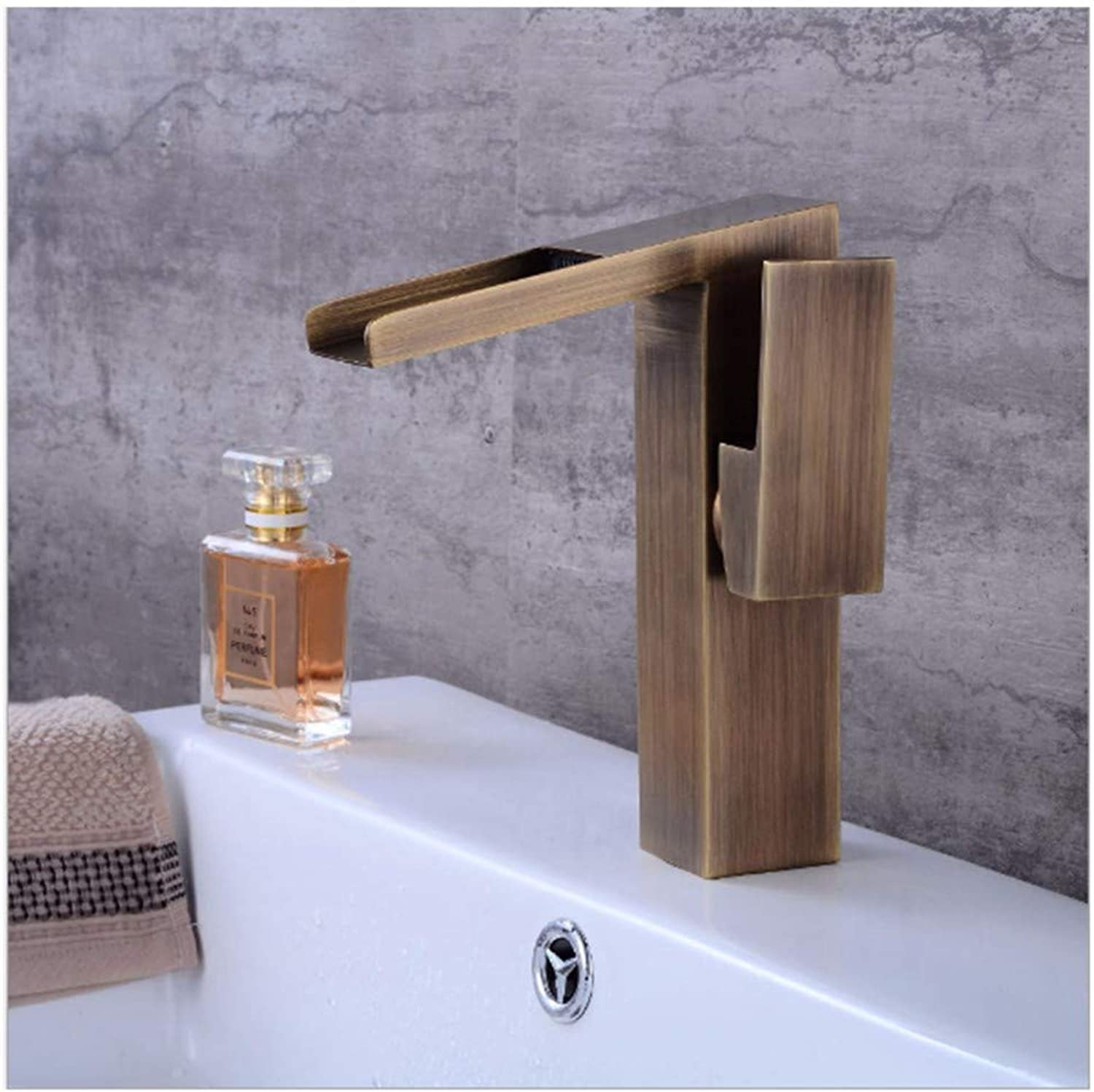 Lenrtu European Style Drawing Retro Faucet With Waterfall Pure Vintage Brass Polished Water Tap Washbasin Sink 1 Handle Single Hole Mixer Tap For Bathroom