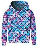 Size 10 Casual Lightweight Anime Hooded Sweatshirt for Girl Kid Child Neice Granddaughter Teens Mauve Plum Teal Mermaid Pattern Pullover Supreme Soft Outerwear with No Fleece