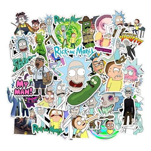 CMTTOME Rick and Morty - Adhesivo decorativo para ordenador portátil, diseño de dibujos animados, 35 unidades, 2 juegos