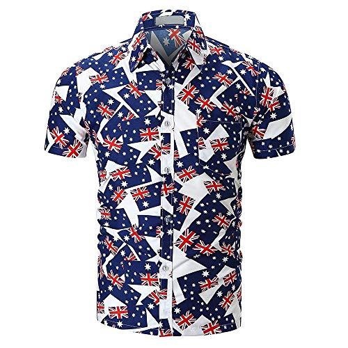 Männer Nner Herren Polo Shirts Kurzarm Gedruckt Sommer Taste Hemd Tee Sport Blusen Wesentlich Tunika Pullover T Shirt Oberteile Sale Oversized (Color : H, Size : M)