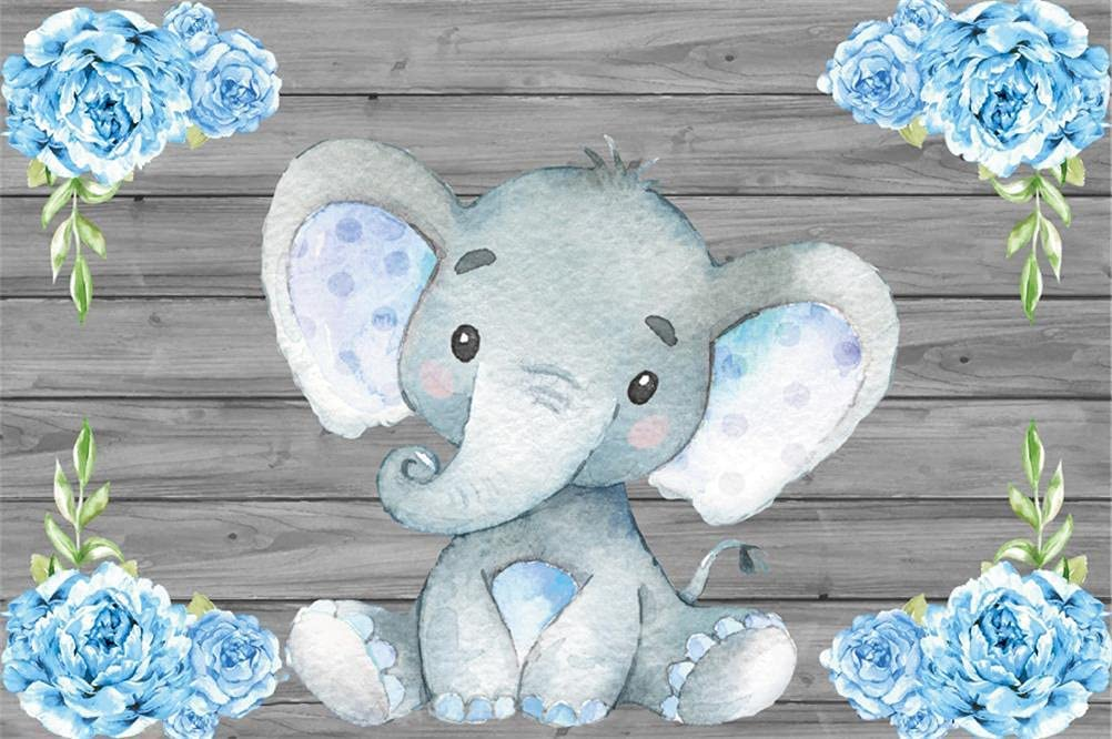 AOFOTO 7x5ft Cute Baby 70% OFF Outlet Elephant Shower Party Backdrop Superior Decor