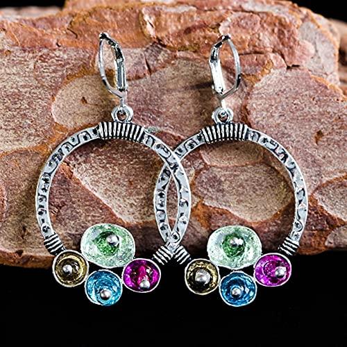 TYUTYU Pendientes Metal Hueco Gran Círculo Círculo Vintage Pendientes Incrustados Piedra Azul Mujeres Exageradas Pendientes (Main Stone Color : Blue, Metal Color : Earrings D257)