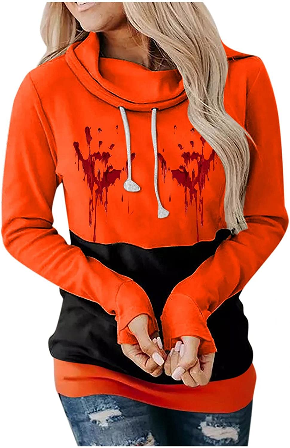 Jaqqra Halloween Sweatshirts for Women Printed Festival Casual Long Sleeve Hooded Blouse Drawstring Pullover Shirts
