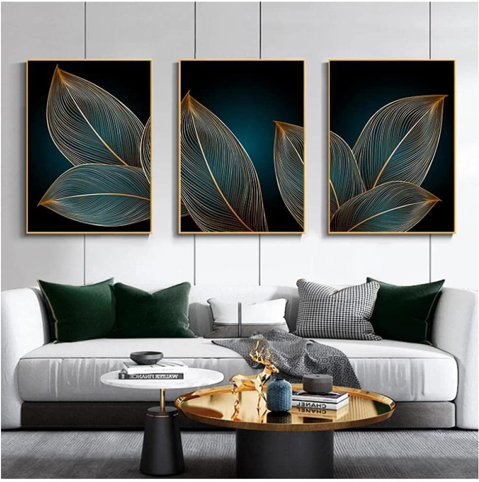 Mwypec Painting Floral Poster Print Wall Golden Cheap super special price New popularity Leaves Monstera