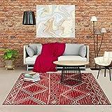 Tapis Style Berbère 60x110 cm Rectangulaire BC Berber Rouge Entrée adapté au Chauffage par Le Sol