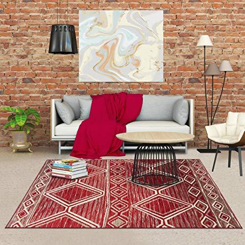 Tapis berbère Style 60x110 cm Rectangulaire BC BERBERE Rouge Entrée adapté au Chauffage par Le Sol